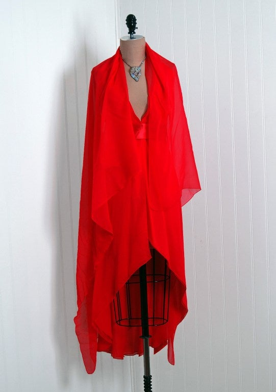 1970's Halston Low-Plunge Red Silk-Chiffon Halter Dress 4