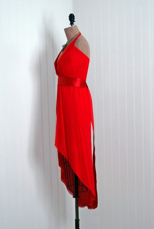 1970's Halston Low-Plunge Red Silk-Chiffon Halter Dress 5
