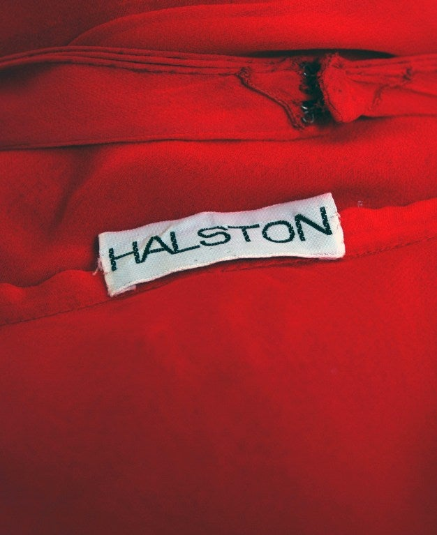 1970's Halston Low-Plunge Red Silk-Chiffon Halter Dress 6