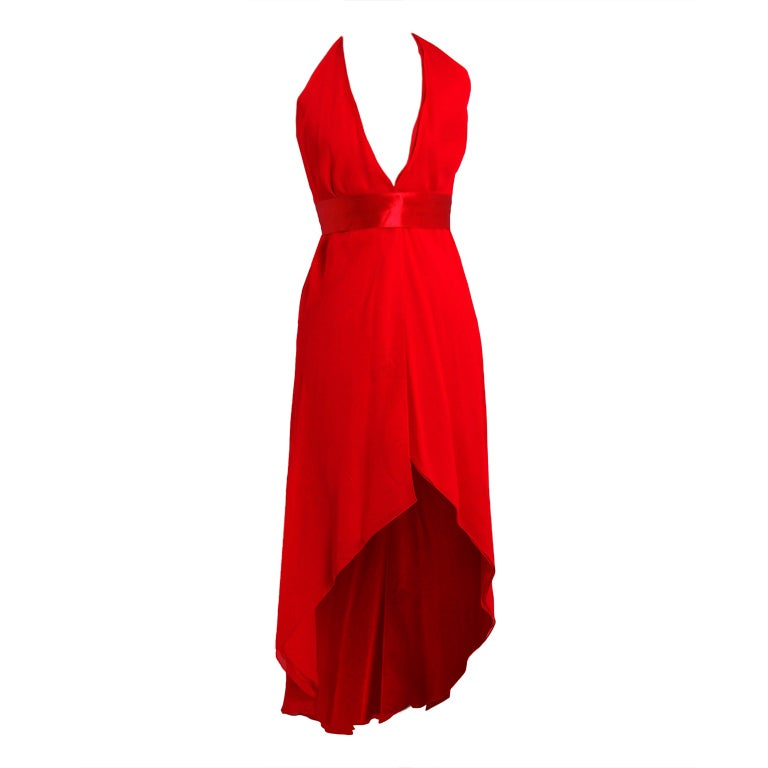 1970's Halston Low-Plunge Red Silk-Chiffon Halter Dress 1