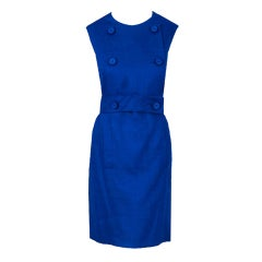 1960's Norman Norell Royal-Blue Linen Double-Breasted Mod Dress