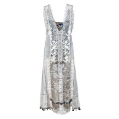 1920's French White Embroidered-Lace & Lame Beaded Applique Flapper Dress