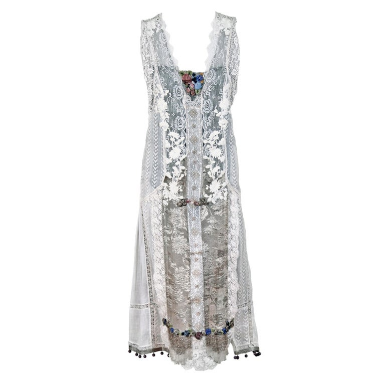 1920 s white embroidered lace and lame beaded