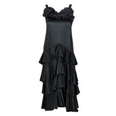 1920's Seductive Black Pleated Silk-Satin Tiered Ruffle Flapper Cocktail Dress