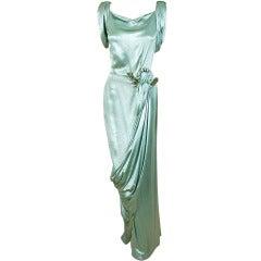 1930's Seafoam Silk-Satin Sequin Draped Grecian Goddess Gown