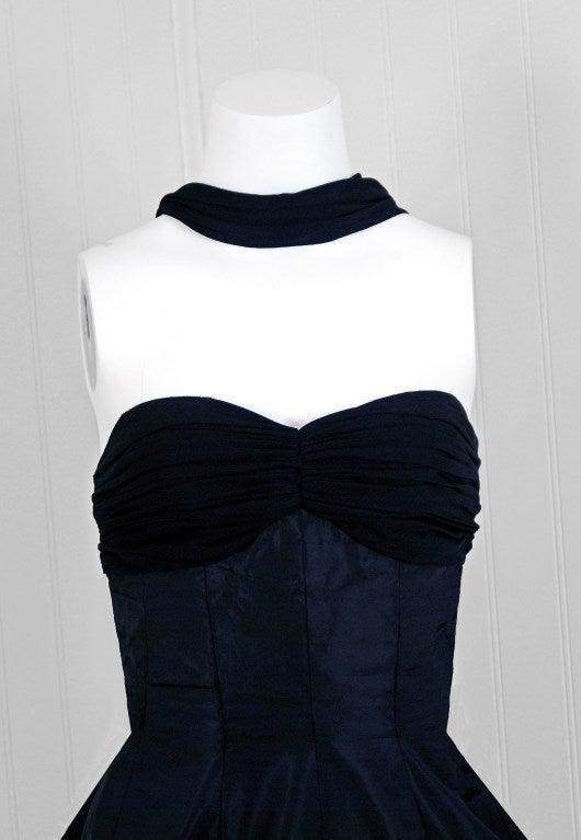 1950 S Seductive Black Silk Taffeta Shelf Bust Halter Full