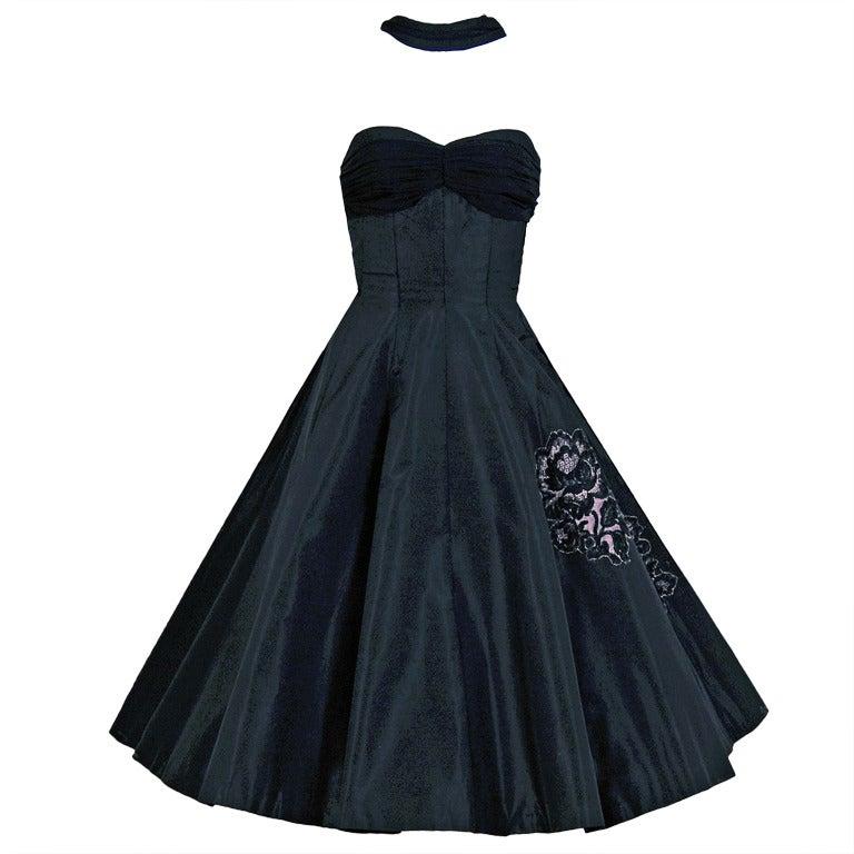 1950's Seductive Black Silk Taffeta Shelf-Bust Halter Full ...