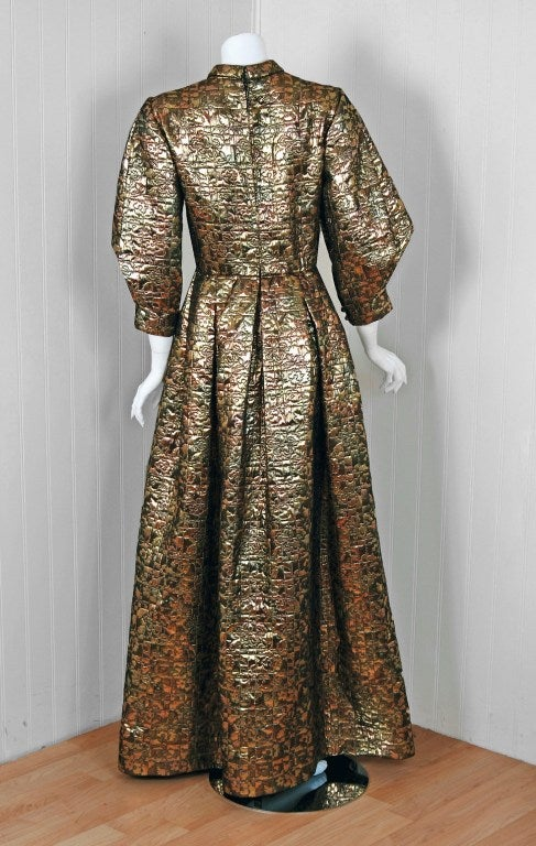 Women's 1960's Pauline Trigere Metallic Gold Silk Origami-Sleeves Gown For Sale
