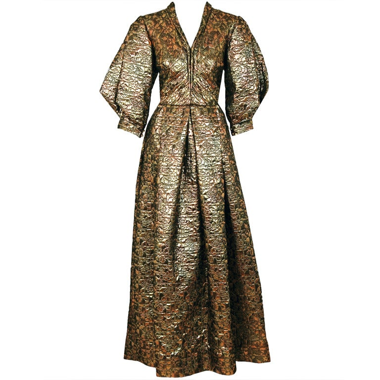 1960's Pauline Trigere Metallic Gold Silk Origami-Sleeves Gown For Sale