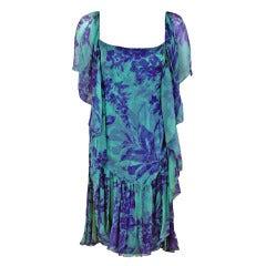 1970's Galanos Watercolor Blue Purple Floral Silk-Chiffon Draped Flutter Dress