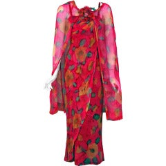 1965 Jean LeFebure Paris Couture Watercolor Floral Draped Chiffon Dress & Cape
