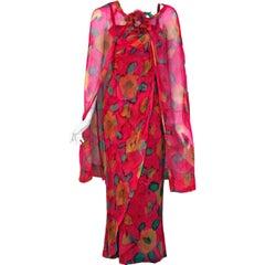 1965 Jean LeFebure Paris Couture Watercolor Floral Draped Chiffon Dress & Cape