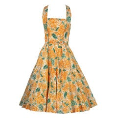 1950's Sophie of Saks Yellow Floral Silk Halter Dress & Coat