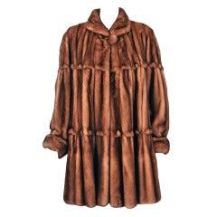 1970's Fendi Haute-Couture Rare Mink-Fur Princess Swing Coat