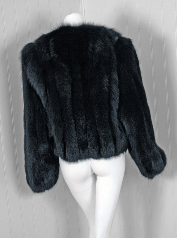 Women's 1990's Missoni Black Genuine Fox-Fur & Colorful Wool-Knit Cropped Bolero Jacket For Sale