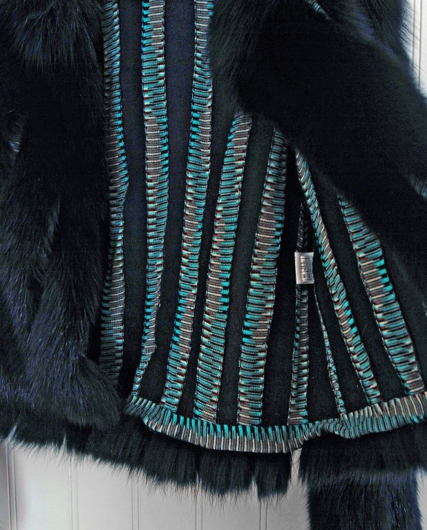 1990's Missoni Black Genuine Fox-Fur & Colorful Wool-Knit Cropped Bolero Jacket For Sale 1