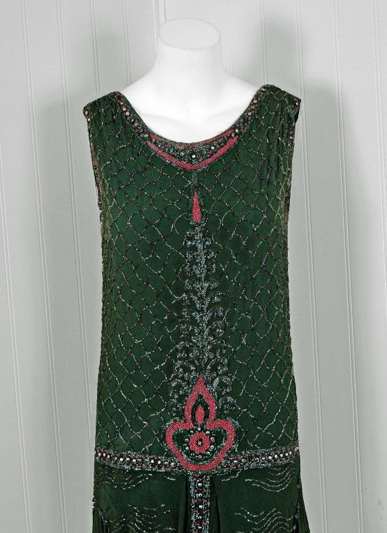 1920's French Green-Grey Beaded Deco Crepe-Chiffon Tiered Flapper Dress 2