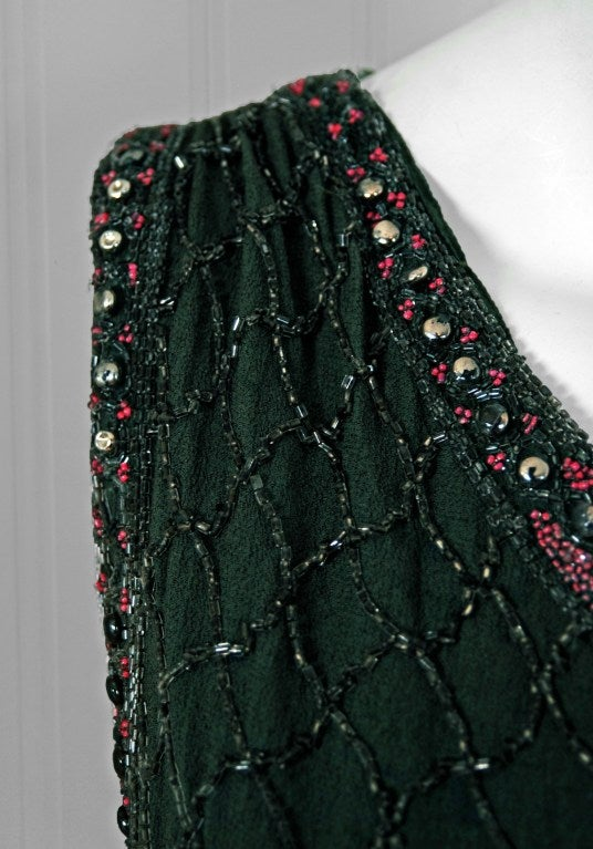 1920's French Green-Grey Beaded Deco Crepe-Chiffon Tiered Flapper Dress 4