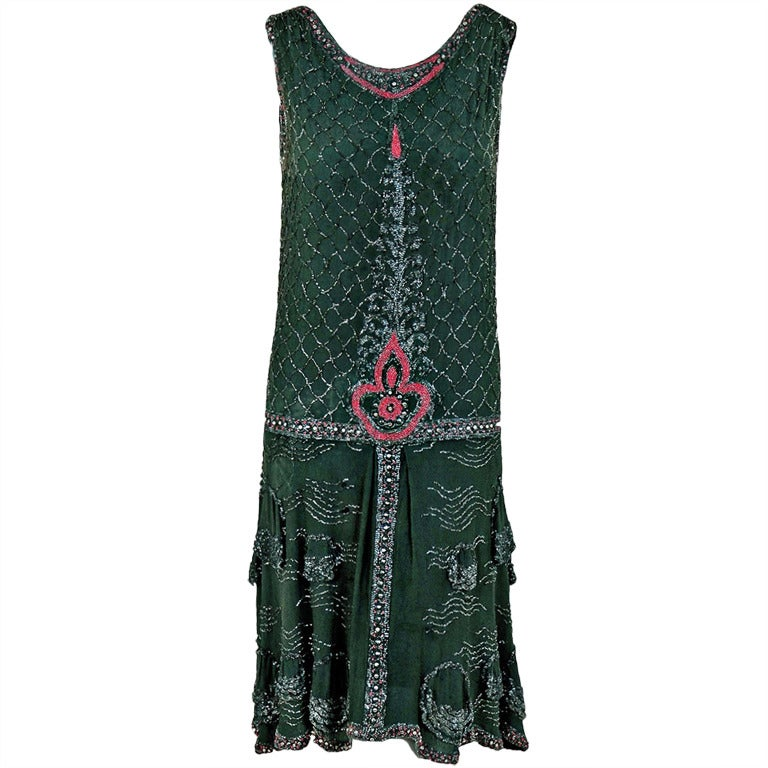1920's French Green-Grey Beaded Deco Crepe-Chiffon Tiered Flapper Dress 1