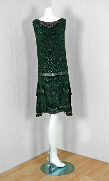 1920's French Green-Grey Beaded Deco Crepe-Chiffon Tiered Flapper Dress 5