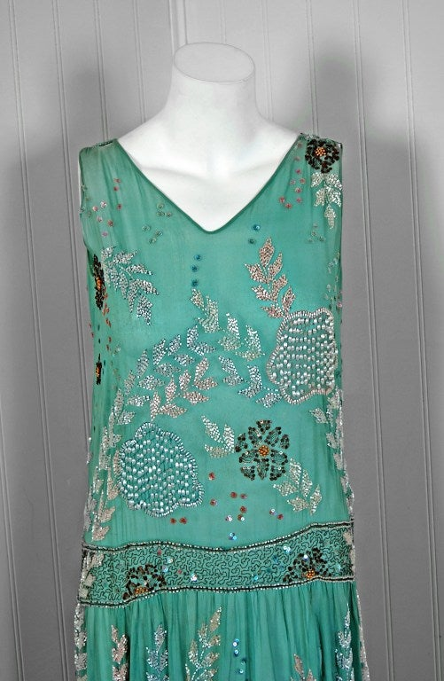 1920's Turquoise-Blue Beaded Sequin Metallic Threaded Scenic Flapper Dress 2