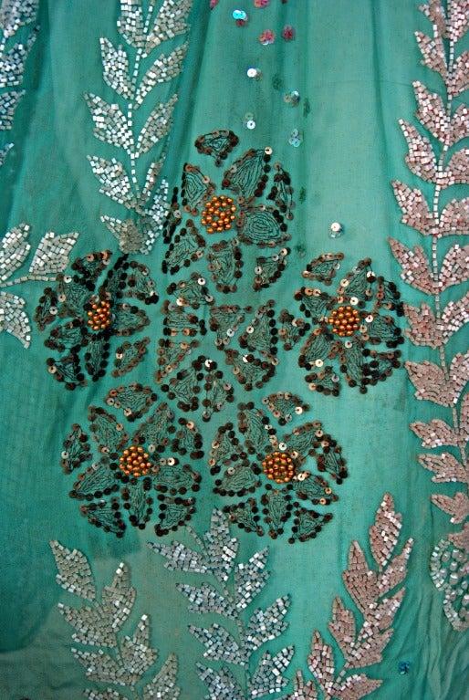 1920's Turquoise-Blue Beaded Sequin Metallic Threaded Scenic Flapper Dress 3