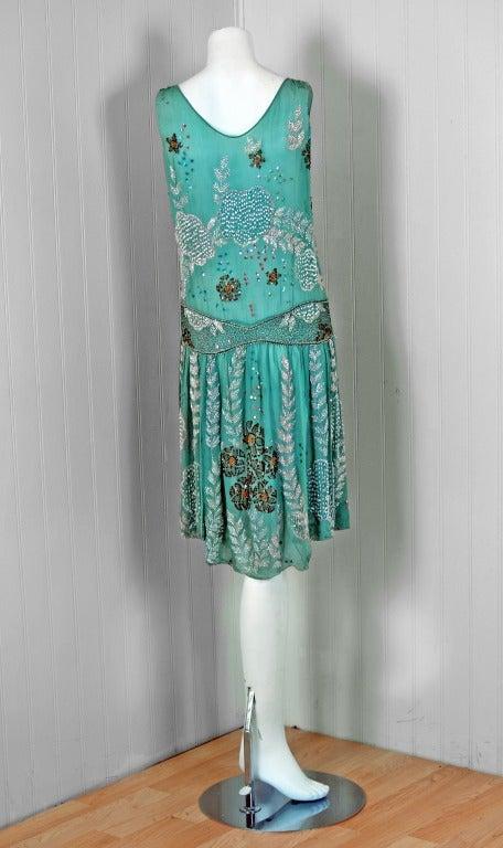 1920's Turquoise-Blue Beaded Sequin Metallic Threaded Scenic Flapper Dress 5