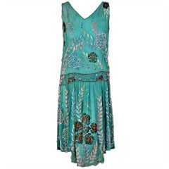 1920's Turquoise-Blue Beaded Sequin Metallic Threaded Scenic Flapper Dress