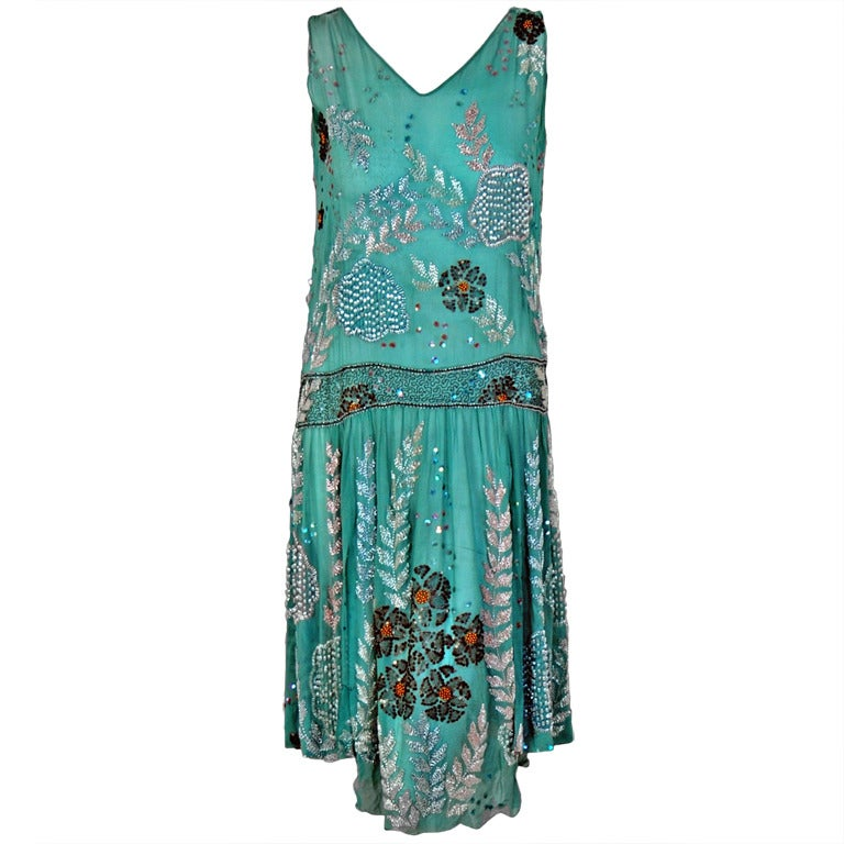 1920's Turquoise-Blue Beaded Sequin Metallic Threaded Scenic Flapper Dress 1