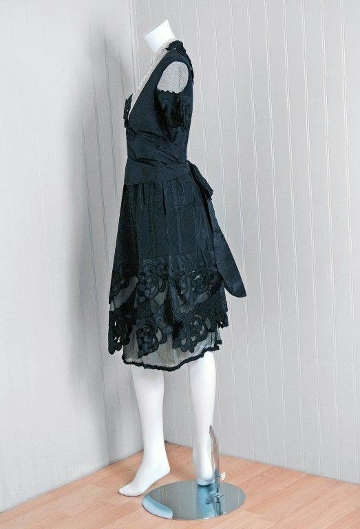 1920 S Elegant Black Cut Out Deco Silk Taffeta And Irish