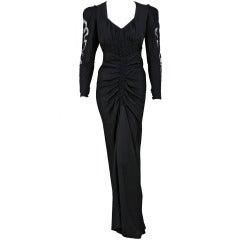 1930's Suzanne Rabot Haute-Couture Black Silk Illusion Bias-Cut Evening Gown