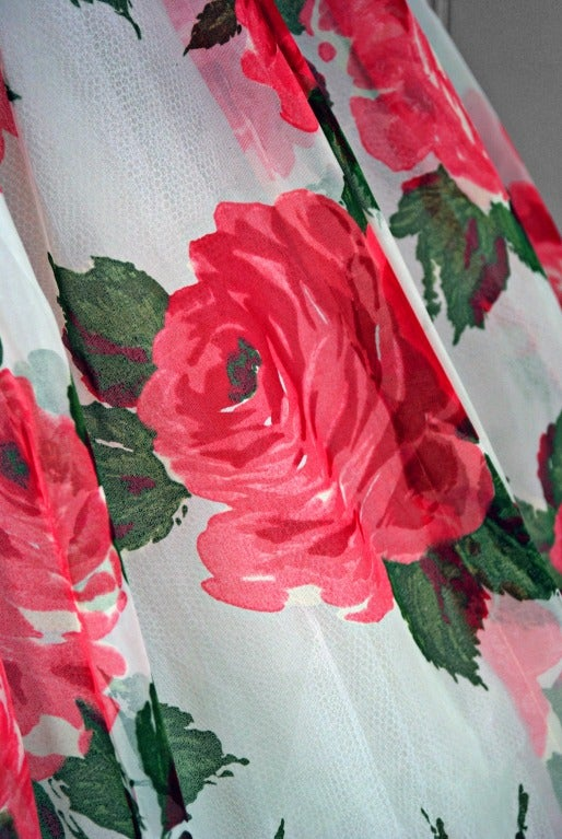 1950's Watercolor Pink-Roses Floral Print Strapless Full Party Dress 4
