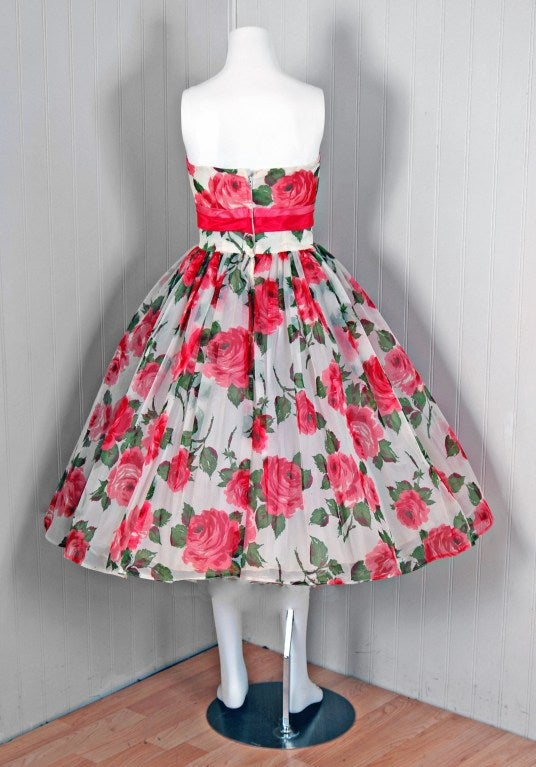 1950's Watercolor Pink-Roses Floral Print Strapless Full Party Dress 5