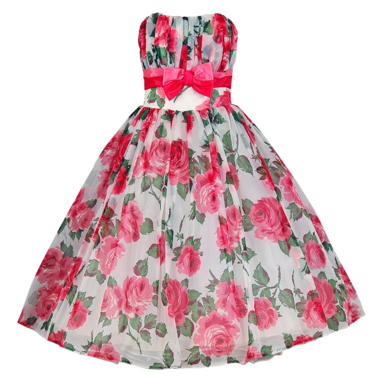 1950's Watercolor Pink-Roses Floral Print Strapless Full Party Dress 1