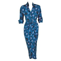 1940's Poodle-Dogs Novelty Print Rayon Draped Cocktail Wiggle Dress