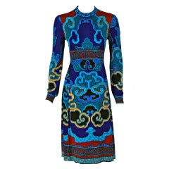 1970's Leonard Colorful Op-Art Graphic Print Silk-Jersey Dress