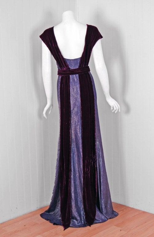 Women's 1930's Elegant Metallic Royal-Purple Lame & Velvet Bias-Cut Deco Evening Gown For Sale