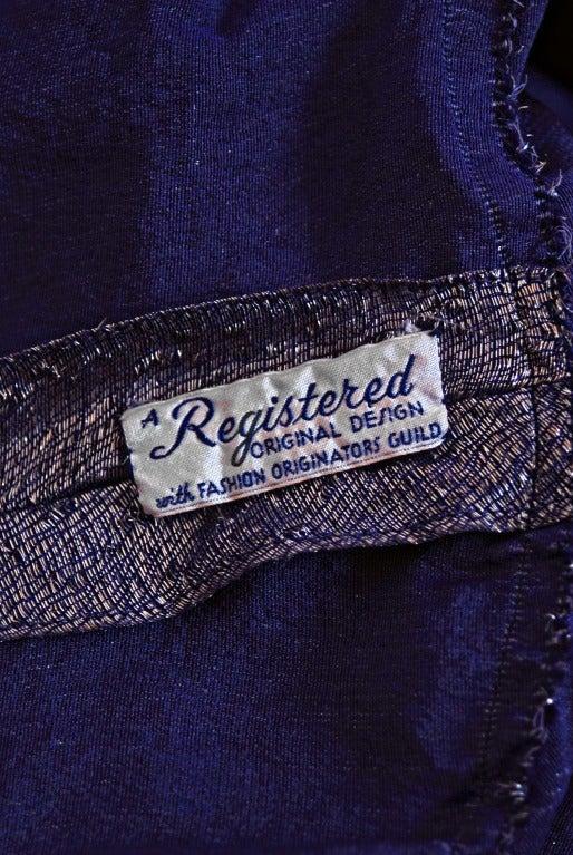 1930's Elegant Metallic Royal-Purple Lame & Velvet Bias-Cut Deco Evening Gown For Sale 1