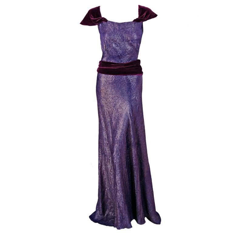 1930's Elegant Metallic Royal-Purple Lame & Velvet Bias-Cut Deco Evening Gown For Sale