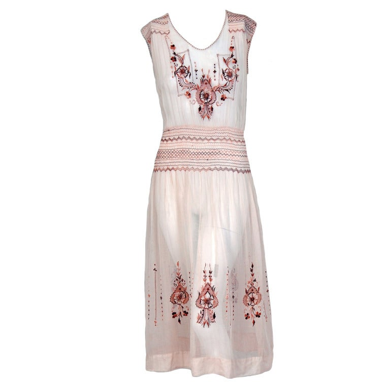 1920's Bohemian Embroidered Tan-Cotton Smocked Flapper Day ...