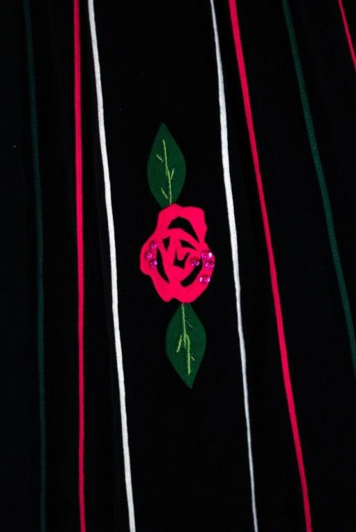 1950's Juli Lynne Charlot Applique Rose Garden Velvet Strapless Dress Ensemble 3