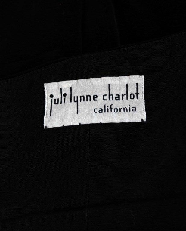 1950's Juli Lynne Charlot Applique Rose Garden Velvet Strapless Dress Ensemble 5
