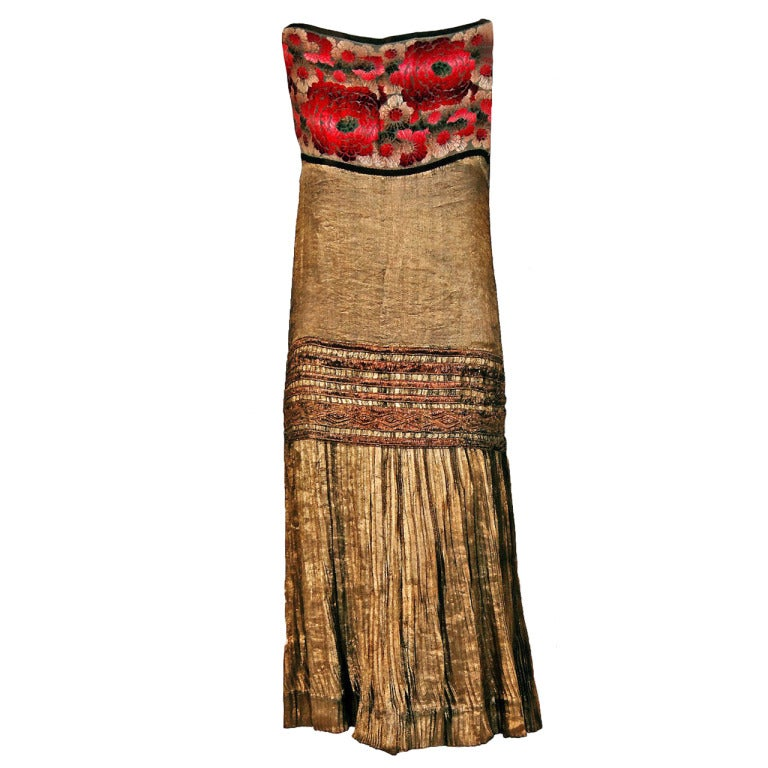 1920's Elegant French Metallic-Gold Pleated Lame Floral Drop-Waist Flapper Dress 1