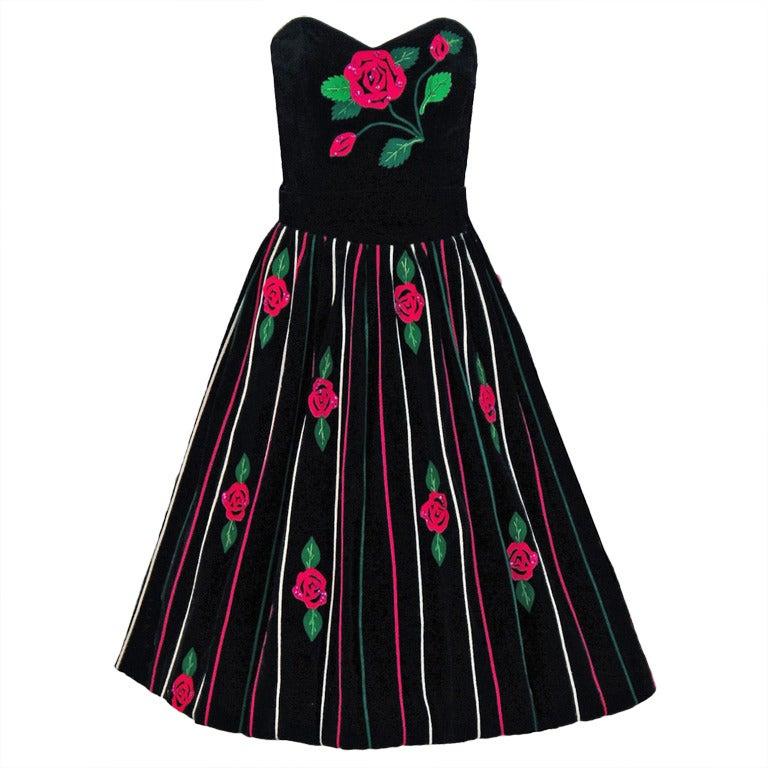 1950's Juli Lynne Charlot Applique Rose Garden Velvet Strapless Dress Ensemble 1