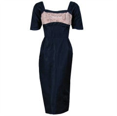1940's Don Loper Beaded Lace Illusion Shelf-Bust Black Silk Cocktail Dress