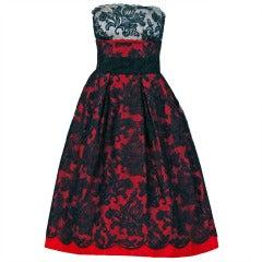 1950's Henri Bendel Chantilly-Lace & Satin Illusion Strapless Party Dress