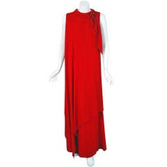 1960's Pierre Balmain Haute-Couture Red Silk Chiffon Grecian Goddess Gown