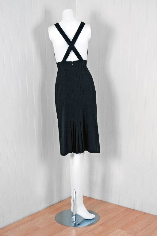 2003 Chanel Black Low-Cut Plunge Pleated Seductive Cocktail Dress 5