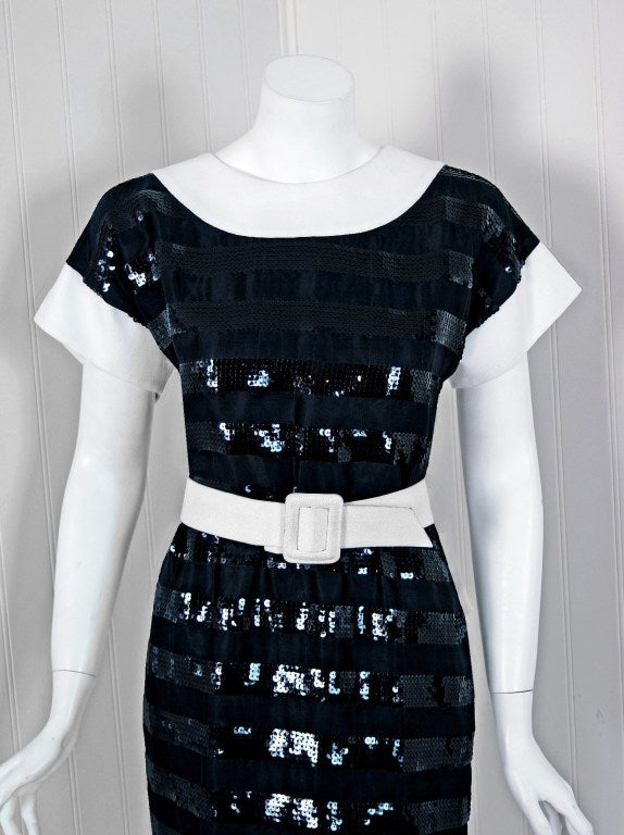 1989 Givenchy Black Sequin Silk-Organza & White Linen Cocktail Dress 2