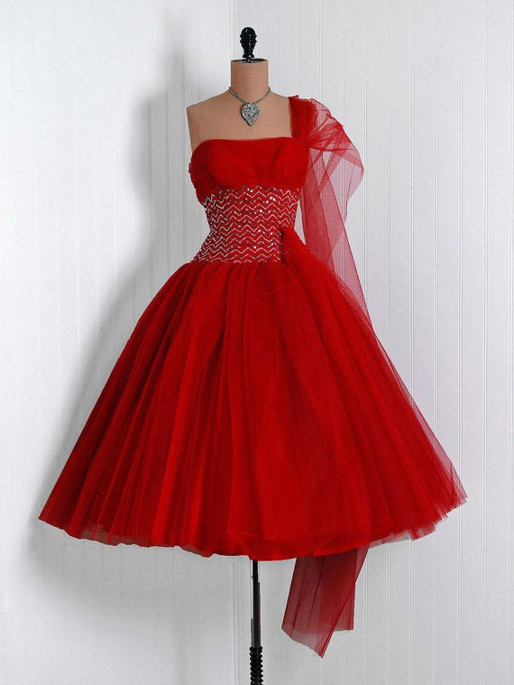 1950's Ruby-Red Sequin Tulle Strapless Circle-Skirt Party Dress 2